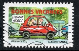 2015 BONNES VACANCES: Valeur Faciale 0,68 € Timbre Usagee De FRANCE, La Route Des Vacances, AUTO ROUGE - France
