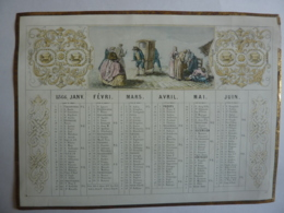 ALMANACH,  Calendrier  Semestriel 1866 - ALLEGORIE Scènes Dans La  Rue   , Lithographie-chromo   Empire - Calendriers