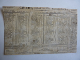 ALMANACH,  Calendrier  1835 -CAILLOT Libraire Document Redécoupé D'un Calendrier - Calendriers
