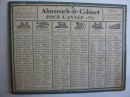 ALMANACH,  Calendrier  1837 -SEMESTRIEl  RECTO-VERSEAU Allegorie Signe Du Zodiac  Imp-Edit Lambert , Lyon - Calendriers