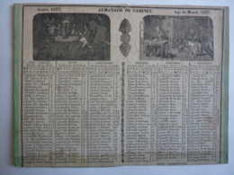 ALMANACH DE CABINET ,  Calendrier  1837 -SEMESTRIEL  RECTO-VERSEAU Allegorie AGE DU MONDE   Caillot Libraire Imp. - Calendriers