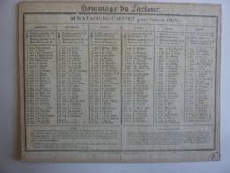 ALMANACH DE CABINET, Calendrier  1835 -SEMESTRIEL  RECTO-VERSEAU HOMMAGE AU FACTEUR  COMYNET Imp. Libraire - Calendriers
