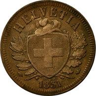 Monnaie, Suisse, 2 Rappen, 1851, Bern, TTB, Bronze, KM:4.1 - Suisse
