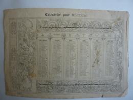 ALMANACH , Calendrier  1890 -1er SEMESTRIEL  Seulement Lithographie  Allégorie ARABESQUE MUSIQUE - Calendriers