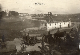 PHOTO ALLEMANDE - ARTILLERIE DE PASSAGE A ZBOROW - ZBORIV - TERNOPIL UKRAINE - GUERRE 1914 1918 - 1914-18