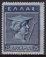 GREECE 1911-12 Hermes Engraved Issue Top Value 25 Dr. Darkblue Vl. 227 MH - Ongebruikt