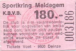 Ticket D' Entrée Ingangsticket - Voetbalploeg Sportkring Maldegem - 180 Frank - Tickets D'entrée