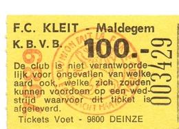 Ticket D' Entrée Ingangsticket - Voetbalploeg F.C.Kleit Maldegem - 100 Frank - Tickets D'entrée