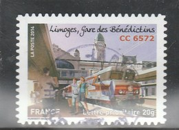 FRANCE 2014 ISSU DU CARNET VOYAGE EN TRAIN OBLITERE A DATE SUR FRAGMENT YT 1009 - France