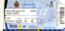 Ticket D' Entrée Ingangsticket - Voetbalploeg Club Brugge K.V. - K.A.A. Gent - 2010 - Tickets D'entrée