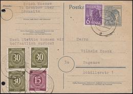 Währungsreform P 962 Mit Zusatzfr. Zehnfachfrankatur GRABOW 28.6.48 Nach Hagenow - Gemeinschaftsausgaben