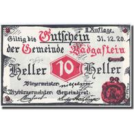 Billet, Autriche, Bad Gastein, 10 Heller Village, 1920, 1920-12-31, SPL FS 75IIa - Autriche