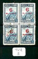 TUR YT  743 En Bloc De 4 En Obl - 1921-... République