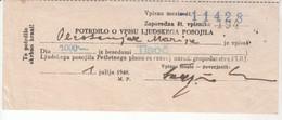 3854   SLOVENIJA   POTRDILO O VPISU  LJUDSKEGA POSOJILA - Slovenia