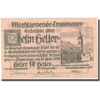 Billet, Autriche, Traismauer, 10 Heller, Eglise 1920-12-31, SPL, Mehl:FS 1078I - Autriche