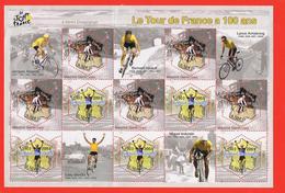 BLOC   10 TIMBRES NEUFS LE TOUR DE FRANCE A 100 ANS , Traces Charnières Au Verso Voir Scan - Sheetlets