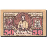 Billet, Autriche, St Johann, 50 Heller, Blason 1921-01-31, SPL, Mehl:FS 898a - Autriche