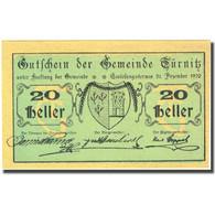 Billet, Autriche, Türnitz, 20 Heller, Blason 1920-12-31, SPL, Mehl:FS 1086a - Autriche