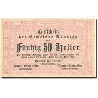 Billet, Autriche, Randegg, 50 Heller, Valeur Faciale 1921-06-31 SPL FS 817 - Autriche