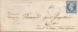SEINE ET OISE (72) ENV OBL LARDY  PC 1653 Sur NAP  Pour  EU - 1849-1876: Période Classique