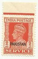 PAKISTAN S.G 06 KING GEORGE VI KGVI OVERPRINTED STAMP SERVICE 2 ANNA - Pakistan