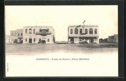 CPA Djibouti, Poste De Police, Place Ménélick, Polizeigebäude - Cartes Postales