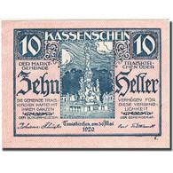 Billet, Autriche, Traiskirchen, 10 Heller, Monument, 1921-05-31, SUP FS 1077a - Autriche