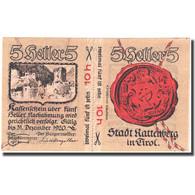 Billet, Autriche, Rattenberg, 5 Heller, Château 1920-12-31, SPL, Mehl:FS 821 I - Autriche