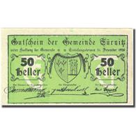Billet, Autriche, Türnitz, 50 Heller, Blason 1920-12-31, SPL, Mehl:FS 1086a - Autriche