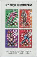 ** CENTRAFRICAINE - Poste - Michel 1411/4 B, Feuillet Collectif, Non Dentelé: Jeux Olympiques D'Albertville - Centrafricaine (République)