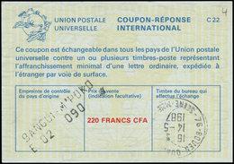 """O CENTRAFRICAINE - Coupons Réponse - Coupon, 220f.cfa (1987), Griffe Noire """"Bangui M'Poko E02 090"""" - Centrafricaine (République)"""