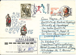 Ukraine Registered Uprated Postal Stationery Sent To Denmark 18-5-1992 With Stamps On Front And Backside Of The Cover - Ukraine