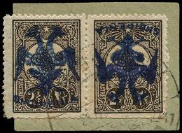 O ALBANIE - Poste - 11, Surcharge Bleue, Exceptionnelle Paire Sur Petit Fragment, 1 Exemplaire Surcharge Renversée Forma - Albanie
