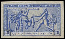 (*) GRECE - Poste - 170, Essai Non Dentelé, Signé: 20l. Bleu Jeux Olympiques 1906 - Grèce