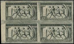 (*) GRECE - Poste - 175, Superbe Bloc De 4, Bdf, Non Dentelé: 1d. Noir Jeux Olympiques De 1906 - Grèce