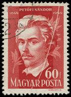 O HONGRIE - Poste - 906, Impression Recto-verso (1/2 Timbre) + Pli Accordéon: 60ft. Petofi - Hongrie