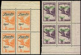 ** HONGRIE - Poste Aérienne - 24/25, 2 Blocs De 4 Cdf: Zeppelin 1931 - Hongrie