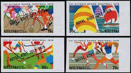 "** AITUTAKI - Poste - 176/79, Non Dentelés, Bdf, (tirage 150): J.O De Montréal 76, ""Royal Visit"" - Aitutaki"