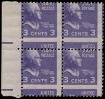 ** ETATS UNIS - Poste - 372, Bloc De 4 Bdf, Piquage Horizontal à Cheval: 3c. Jefferson - United States