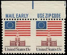 ** ETATS UNIS - Poste - 1076A, Paire Horizontale, Bdf (Zip), Non Dentelée Entre Verticalement: 13c. - United States