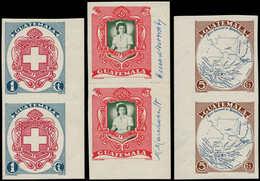 """** GUATEMALA - Poste - 348/50, 3 Paires Non Dentelées, BDF, Couleurs Inversées, Le 350 Erreur Légende """"British Honduras"""" - Guatemala"""