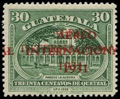 ** GUATEMALA - Poste Aérienne - 15, Double Surcharge Rouge: Aereo 1931 (Sanabria 17a) - Guatemala