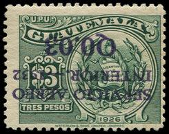 * GUATEMALA - Poste Aérienne - 20, Surcharge Renversée, Signé: 0.03/3p. (Sanabria 22b) - Guatemala