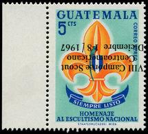 ** GUATEMALA - Poste Aérienne - 391, Surcharge Renversée, (tirage 50): 5c. Scouts - Guatemala