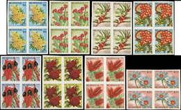 ** NICARAGUA - Poste - Michel 2909/16, Non Dentelés En Blocs De 4, (tirage 100 Séries): Fleurs Et Cactées - Nicaragua