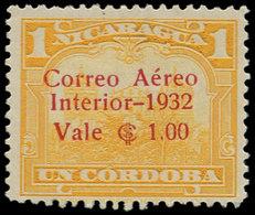 * NICARAGUA - Poste Aérienne - 67, Non émis Surcharge Rouge, (tirage 100), Signé: 1c./1c. Jaune. - Nicaragua