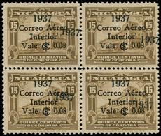 * NICARAGUA - Poste Aérienne - 144, Bloc De 4, Double Surcharge 1937, Signé Aguilera - Nicaragua