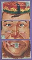 CPA PUZZLE DE 6 CARTES 2 VISAGES  A Recompose Pliure Carte Casquette  Ecrites 1906 TTB N047 - Silhouettes