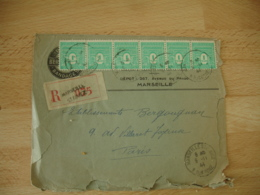 Recomande 1944 Bande De 6 Timbre Arc De Triomphe 1 F Vert Marseille Saint Giniez - Postmark Collection (Covers)
