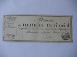 PROMESSE DE MANDAT TERRITORIAL 25F DU 28 VENTOSE AN 4 LAF 196 - Assignats & Mandats Territoriaux